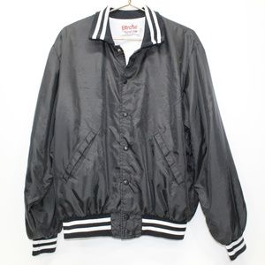 Vintage Birdie Basic Black Baseball Bomber Jacket